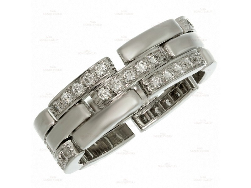 CARTIER Maillon Panthère 3-Row Half-Pave Diamond White Gold Band Ring Size 64