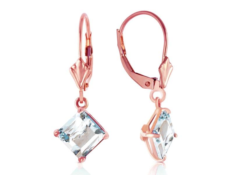 3.2 CTW 14K Solid Rose Gold Aquamarine Simplicity Earrings