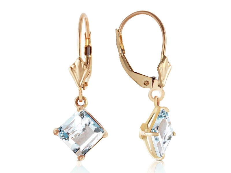 3.2 CTW 14K Solid Gold Excellence Aquamarine Earrings