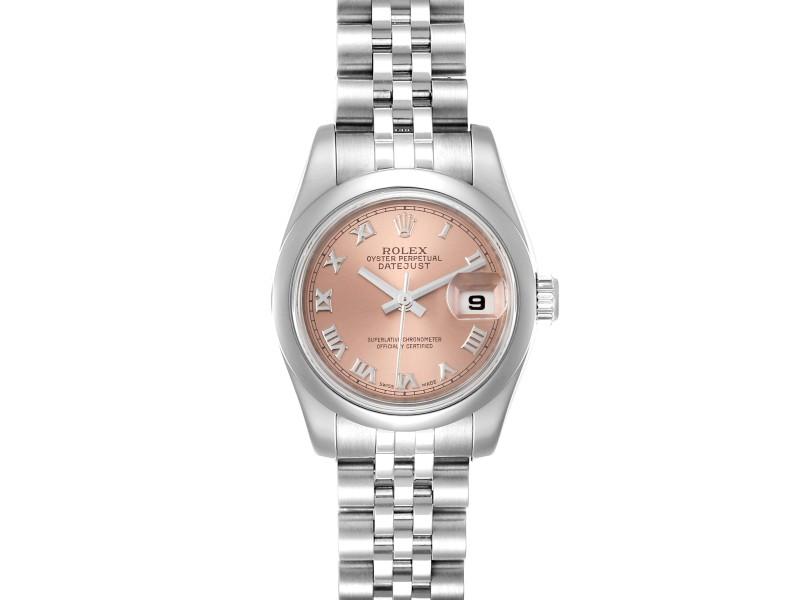 Rolex Datejust Salmon Roman Dial Steel Ladies Watch 179160