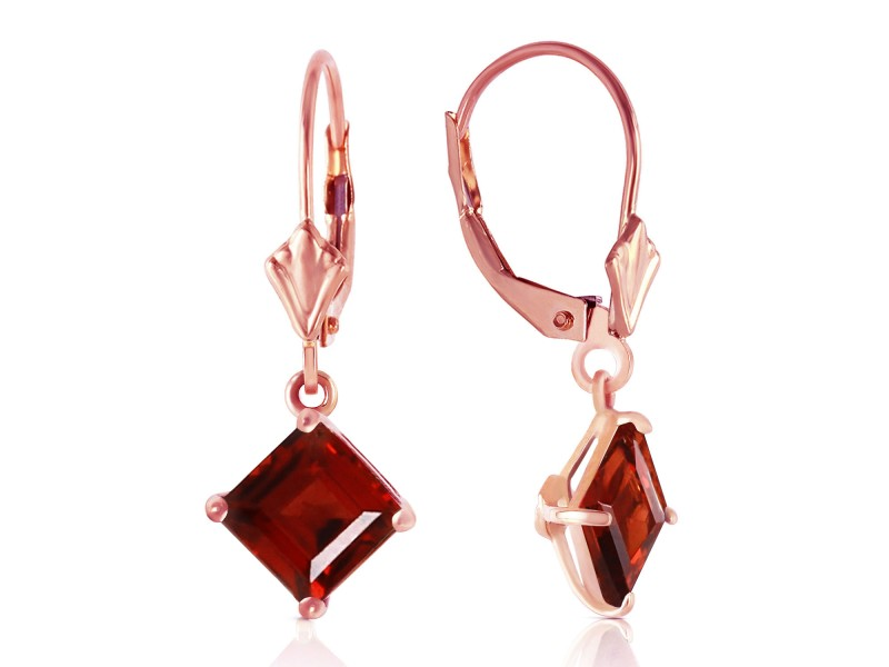 3.2 CTW 14K Solid Rose Gold Garnet Simplicity Earrings