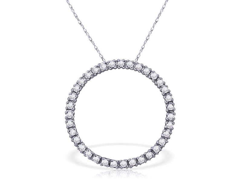 0.52 CTW 14K Solid White Gold Diamond Circle Of Love Necklace