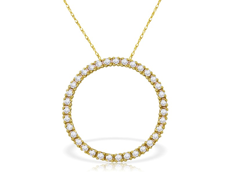 0.52 CTW 14K Solid Gold Diamond Circle Of Love Necklace