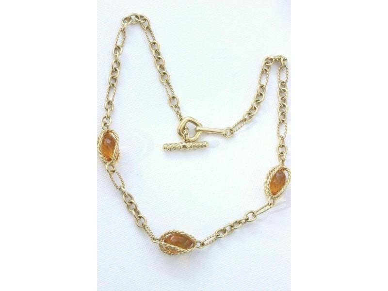 David Yurman Citrine 18k Yellow Gold Toggle Necklace