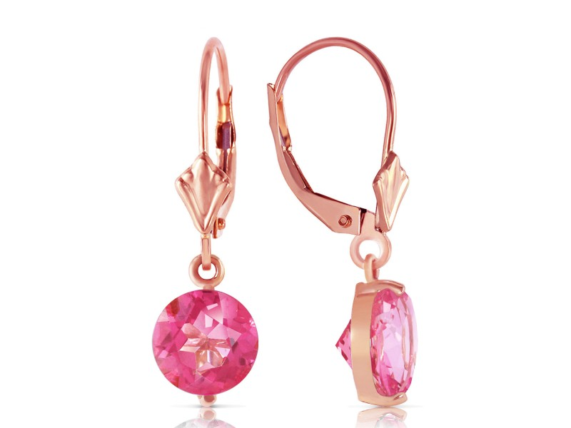 3.1 CTW 14K Solid Rose Gold Youth Pink Topaz Earrings