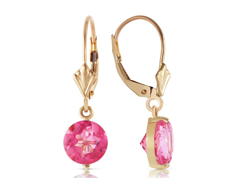 3.1 CTW 14K Solid Gold Girltalk Pink Topaz Earrings