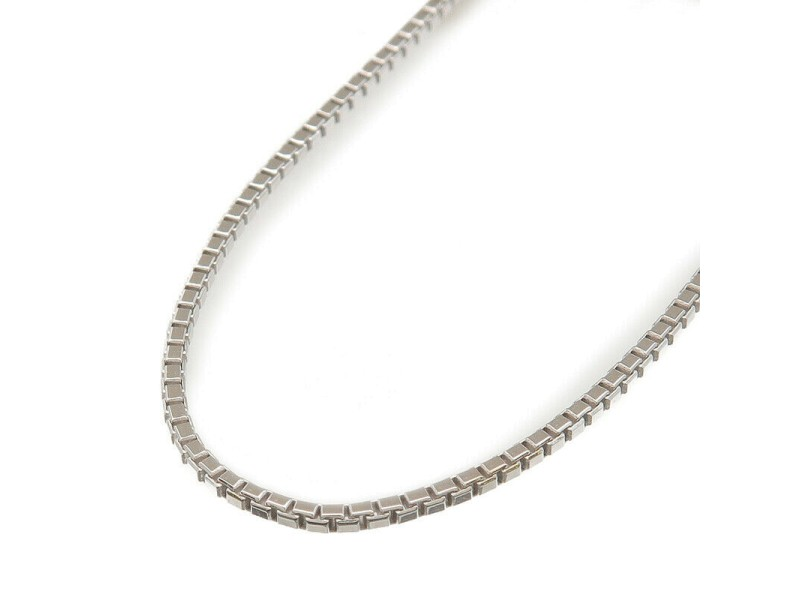 Authentic Necklace Chain With Adjuster K18WG 750WG White Gold Used F/S