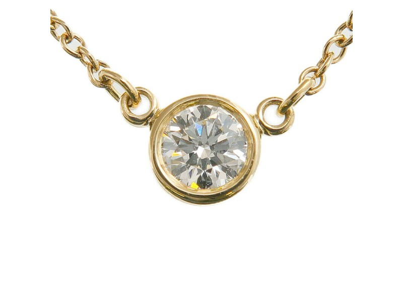 Auth Tiffany&Co. By the Yard 1P Diamond Necklace 0.14ct K18 Yellow Gold Used F/S