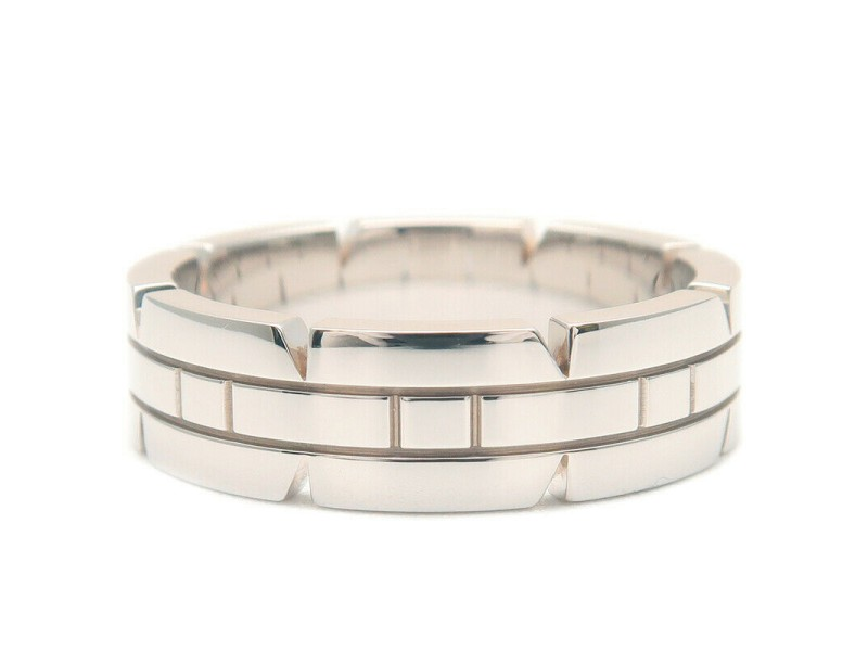 Authentic Cartier Tank Francaise Ring White Gold K18 #49 US5 HK11 EU50 Used F/S