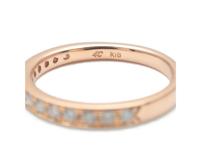 Authentic 4℃ Half Eternity Diamond Ring K18 Rose Gold US4-4.5 EU47 Used F/S