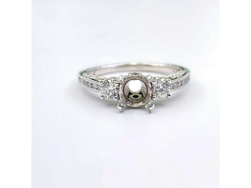 Tacori Semi Mount Engagement Ring Channel Set Diamonds HT2326 18kt White Gold