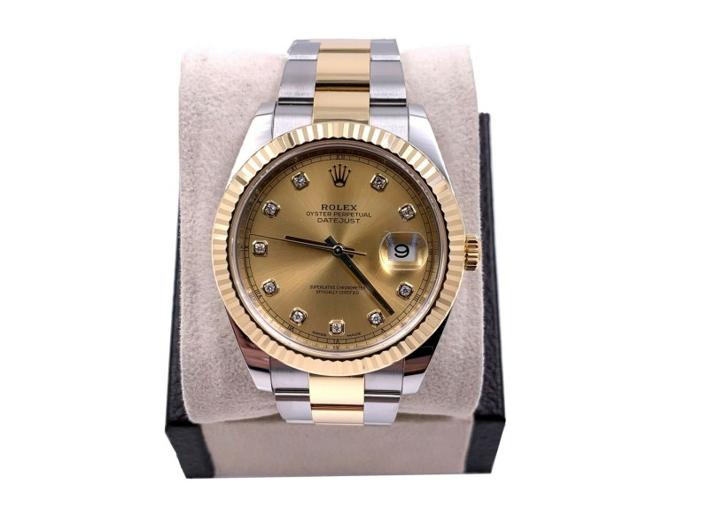 Rolex 126333 Datejust 41 Diamond Dial 18K Stainless Steel Box Papers 2019