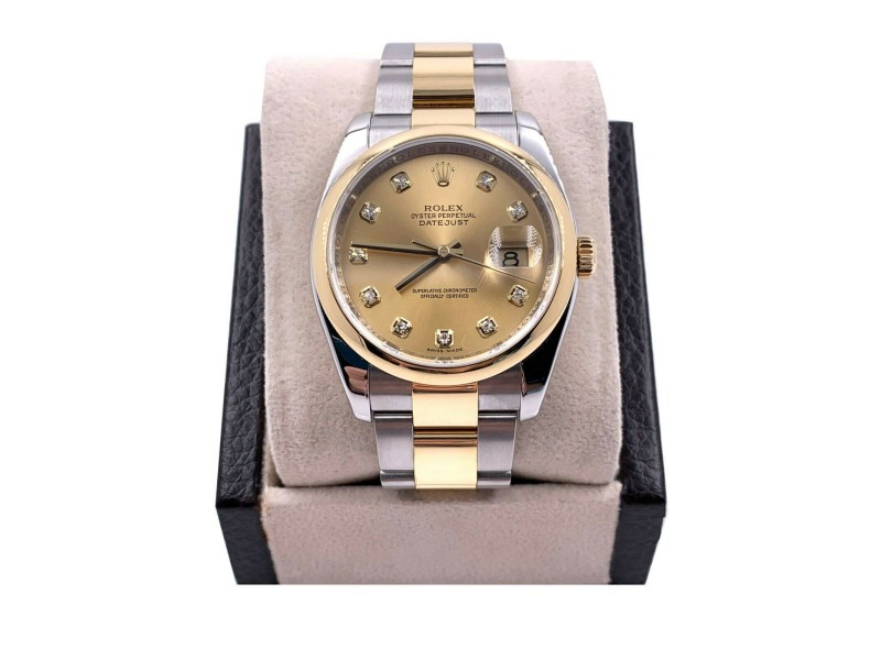 Rolex Datejust 116203 Diamond Dial 18K Stainless Steel Bezel Box Papers 2011