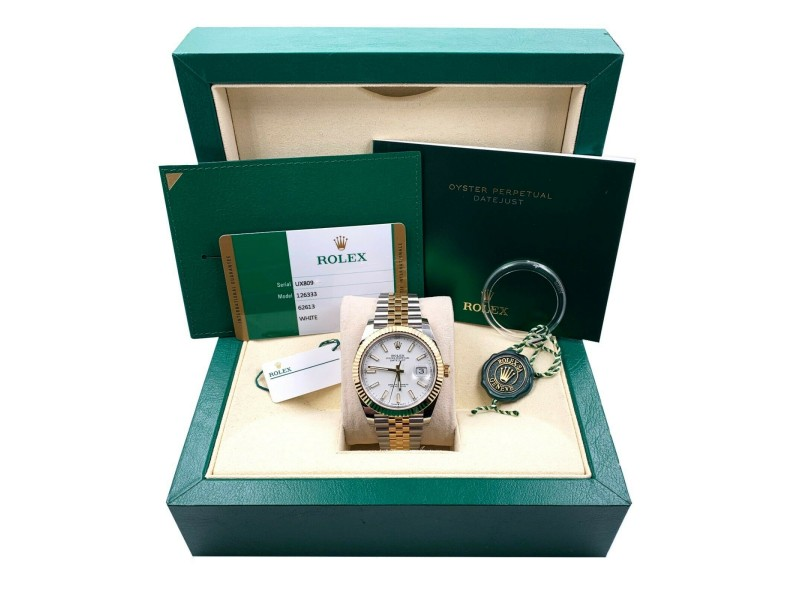 BRAND NEW Rolex 126333 Datejust 41 White 18K Yellow Gold Stainless Box Papers