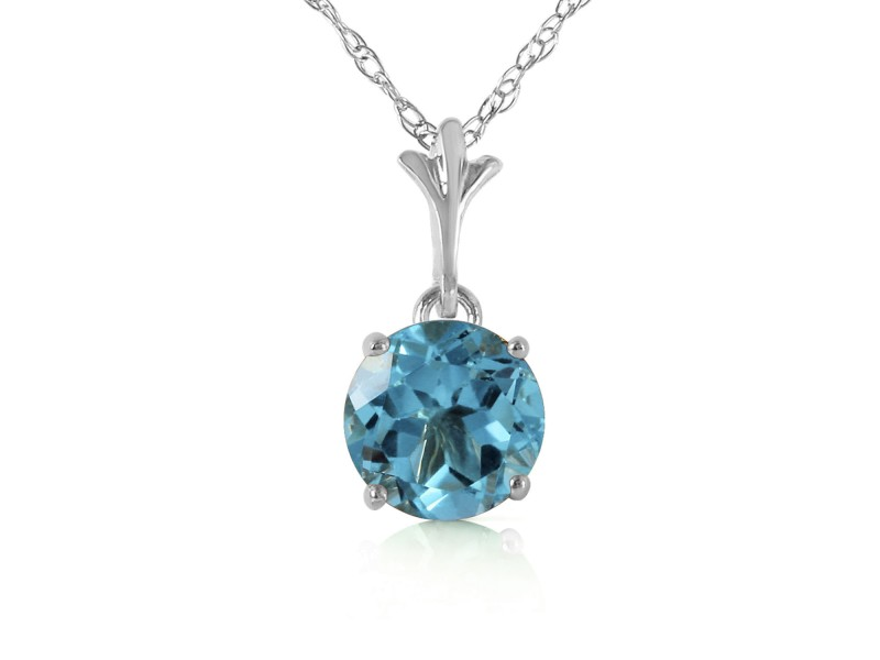 1.15 CTW 14K Solid White Gold Think Again Blue Topaz Necklace