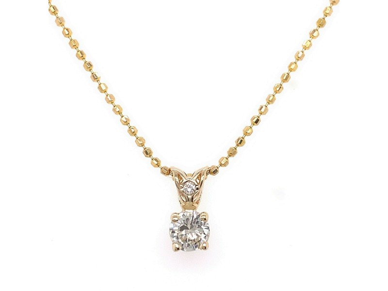 Round Diamond 0.40 tcw Solitaire Pendant Necklace 14kt Yellow Gold