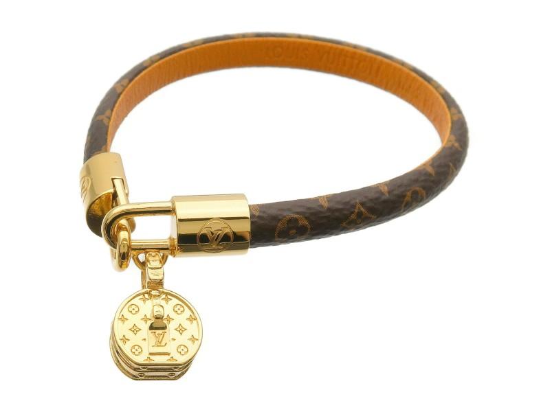 Authentic Louis Vuitton Monogram Bracelet LV Tribute Bangle M6442E Used F/S