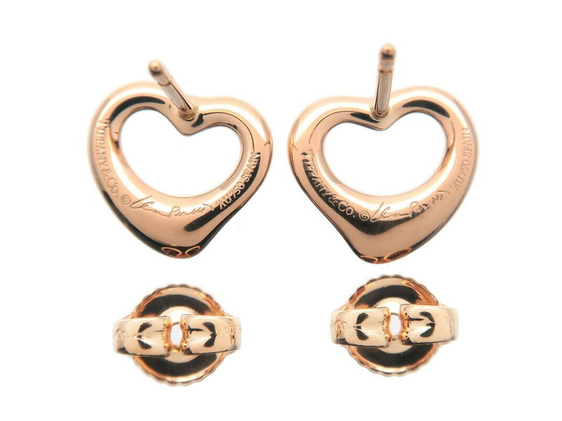 Authentic Tiffany&Co. Open Heart Earrings K18 750 Rose Gold Used F/S