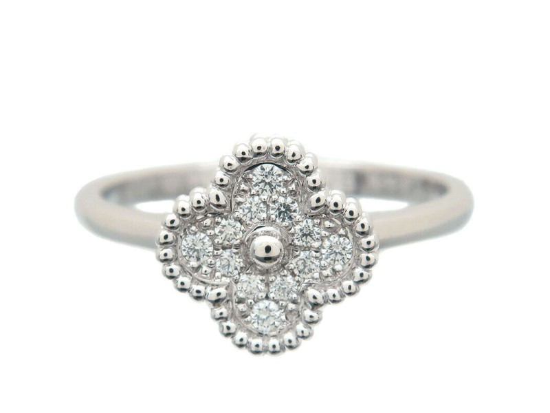 Auth Van Cleef & Arpels Sweet Alhambra Diamond Ring White Gold #52 US6 Used F/S