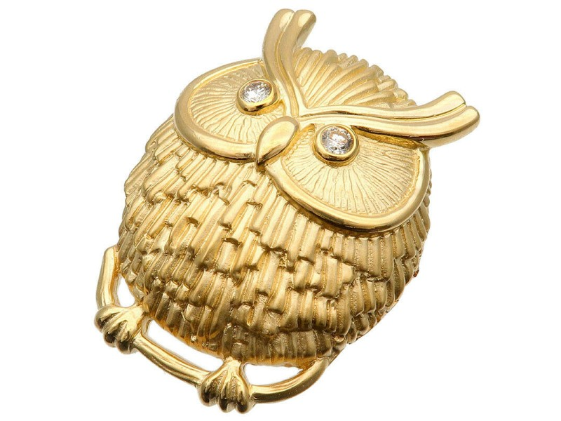 Authentic Owl Diamond Charm Brooch Pendant Top 0.20ct K18YG Yellow Gold Used F/S
