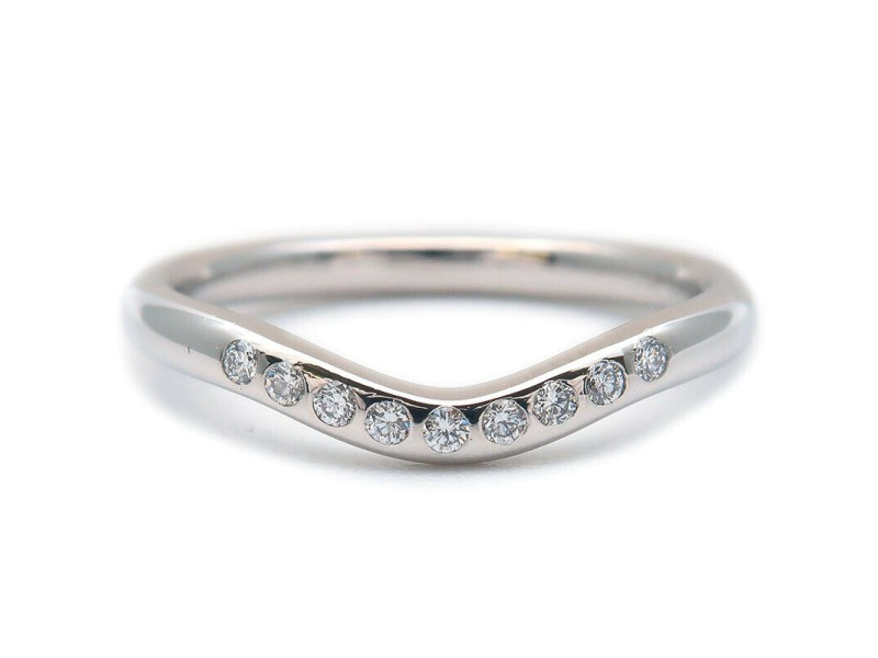 Authentic Tiffany&Co. Curved Band Ring 9P Diamond Platinum US4.5 EU48 Used F/S