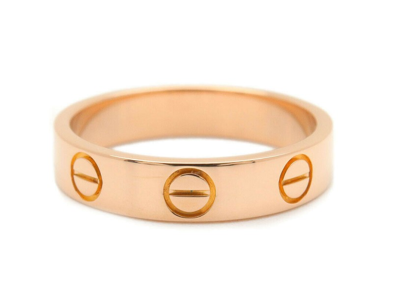 Authentic Cartier Mini Love Ring K18 750 Rose Gold #47 US4.5 HK9 EU47 Used F/S