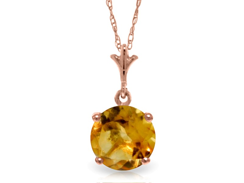 1.15 CTW 14K Solid Rose Gold Single Round Citrine Necklace