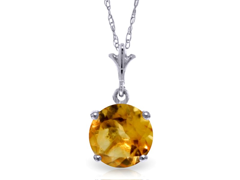 1.15 CTW 14K Solid White Gold Speak To My Heart Citrine Necklace