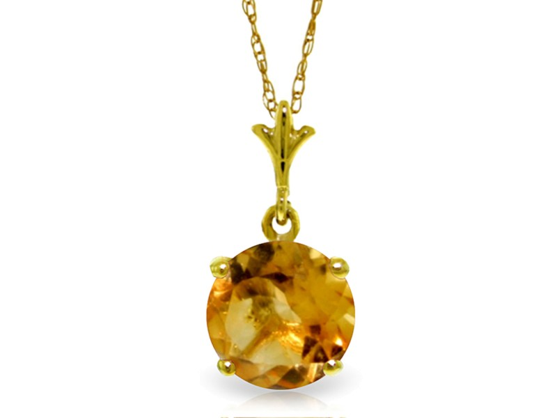 1.15 CTW 14K Solid Gold In Love Citrine Necklace