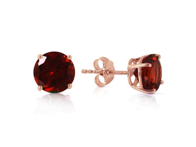 3.1 CTW 14K Solid Rose Gold Anna Garnet Stud Earrings