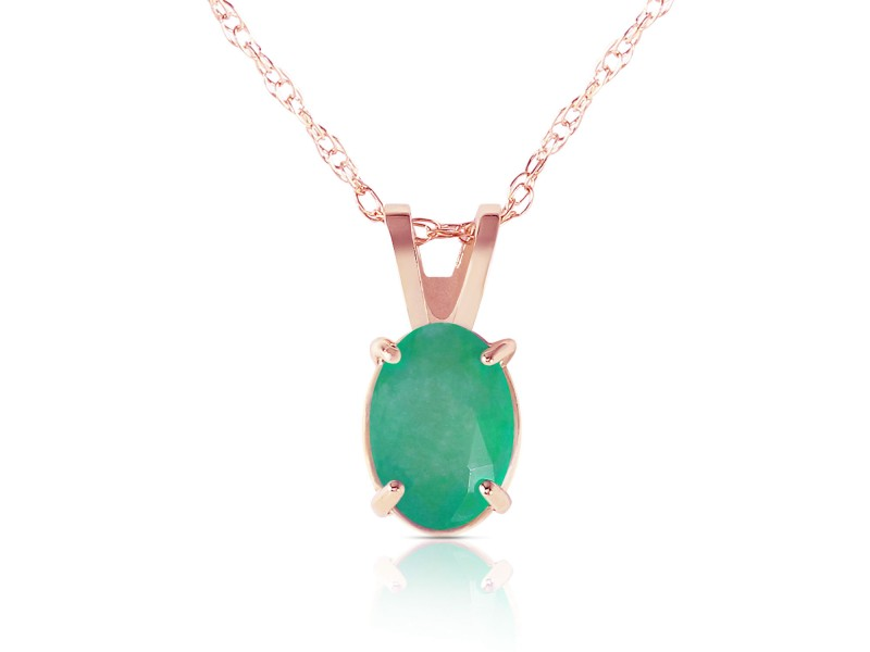 0.75 CTW 14K Solid Rose Gold Necklace Natural Emerald