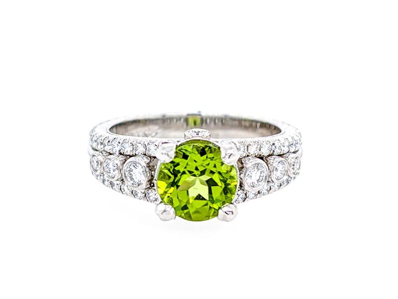Jack Kelege KPR 540 Platinum Peridot & Diamonds Ring
