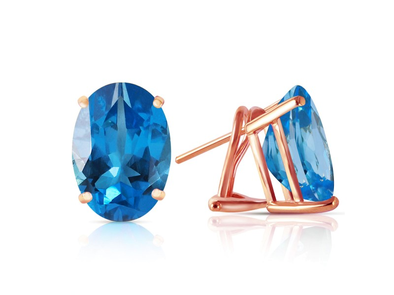 16 CTW 14K Solid Rose Gold French Clips Earrings Natural Blue Topaz