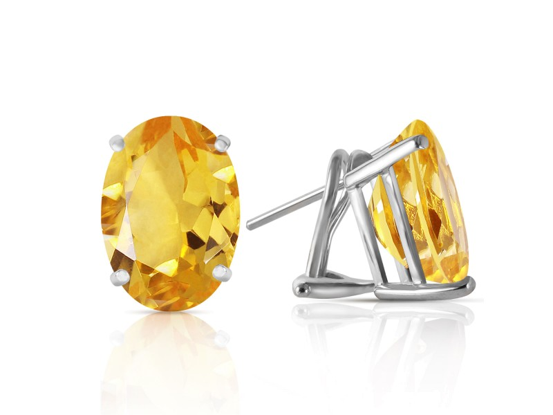 13 CTW 14K Solid White Gold French Clips Earrings Natural Citrine