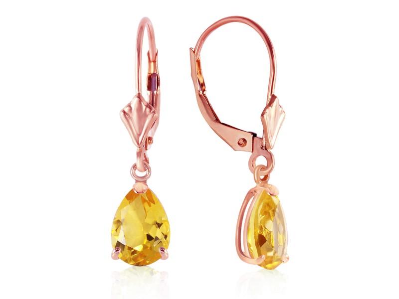 2.85 CTW 14K Solid Rose Gold Citrine Sunshine Earrings
