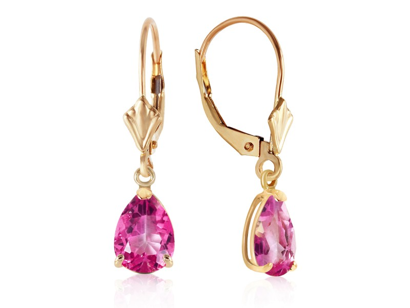 2.85 CTW 14K Solid Gold Garden Party Pink Topaz Earrings
