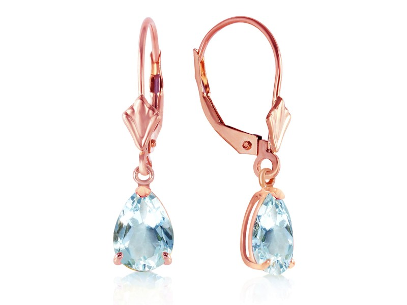 2.85 CTW 14K Solid Rose Gold Aquamarine Leverback Earrings