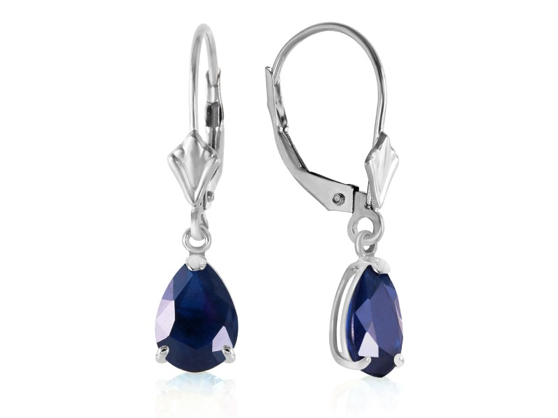 3 CTW 14K Solid White Gold Leverback Earrings Sapphire