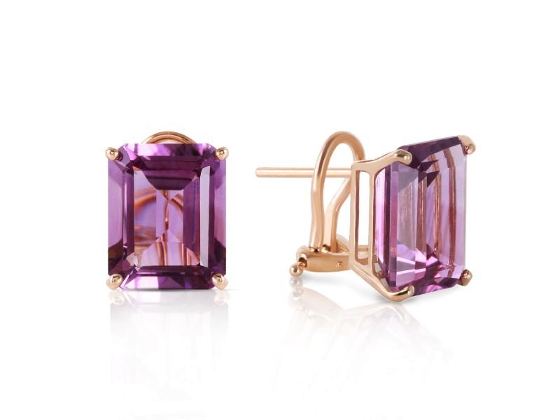 13 CTW 14K Solid Gold Distinction Amethyst Earrings