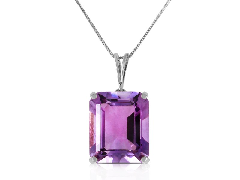 6.5 CTW 14K Solid White Gold Necklace Octagon Purple Amethyst