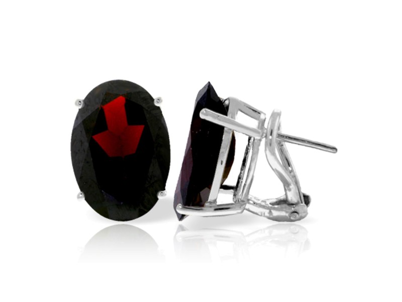 13 CTW 14K Solid White Gold French Clips Earrings Natural Garnet