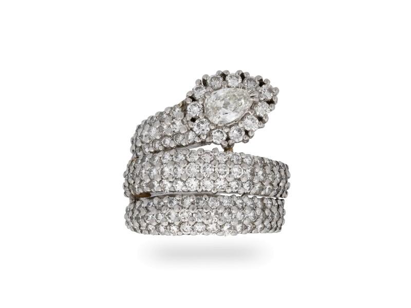 Estate Platinum Diamond Snake Ring Size 6.5