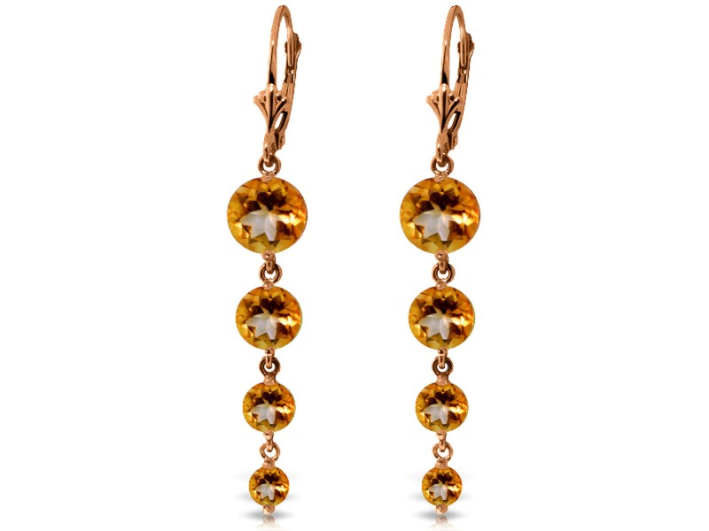 14K Solid Rose Gold Chandelier Earrings with Natural Citrines