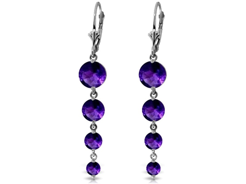 7.8 CTW 14K Solid White Gold Love Survives Amethyst Earrings