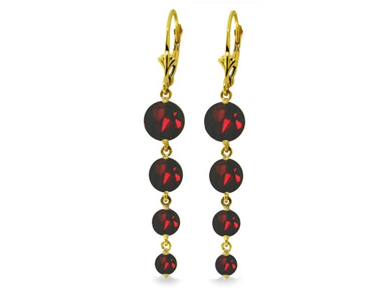 7.8 CTW 14K Solid Gold Chandelier Earrings Natural Garnet
