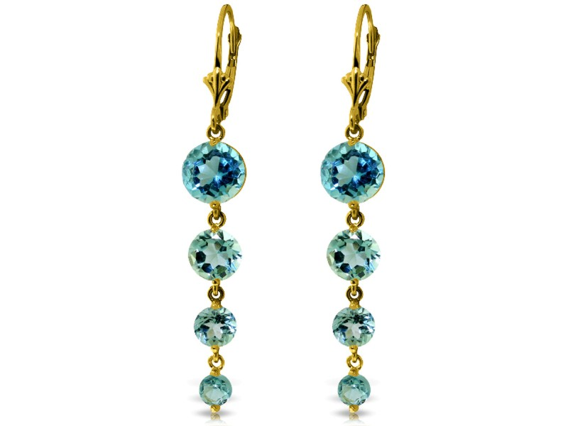 7.8 CTW 14K Solid Gold Drizzle Blue Topaz Earrings