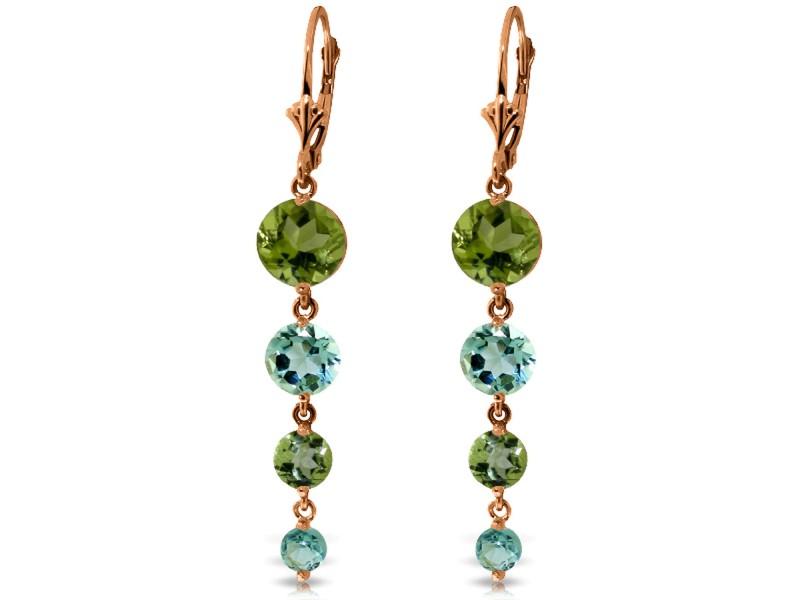 14K Solid Rose Gold Chandelier Earrings with Peridot & Blue Topaz