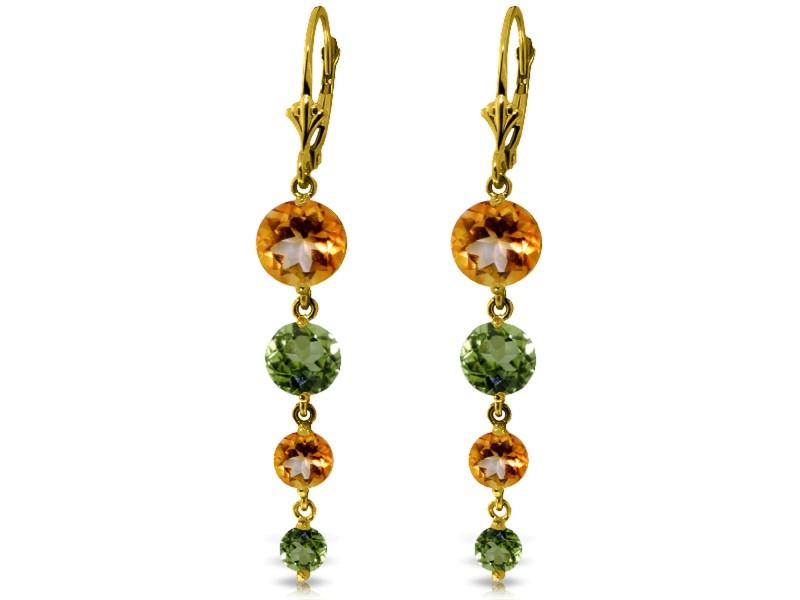 7.8 CTW 14K Solid Gold Chandelier Earrings Citrine Peridot
