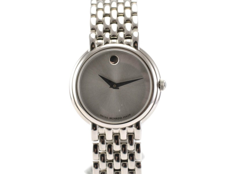 Movado Model 84 A1 1835 Stainless Steel Bracelet Silver Dial Ladies Watch