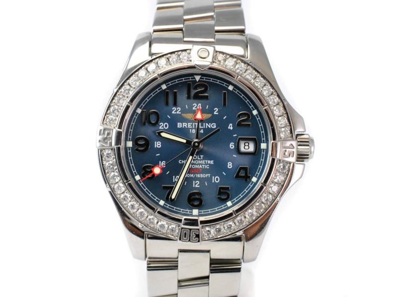 Breitling Aeromarine Colt GMT A32350 Diamond Automatic Blue Men's Watch